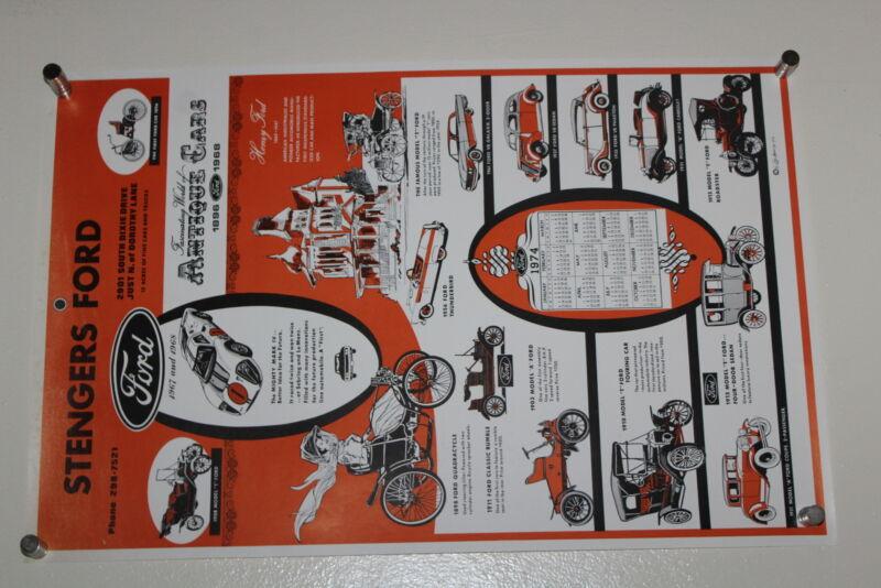Vintage 1974 Calendar STENGERS FORD World of Antique Cars Poster Carl Hamm Sr.