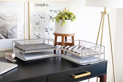 Blu Monaco Stackable Paper Tray - 4 Tier Silver Metal Mesh File Holder Organizer