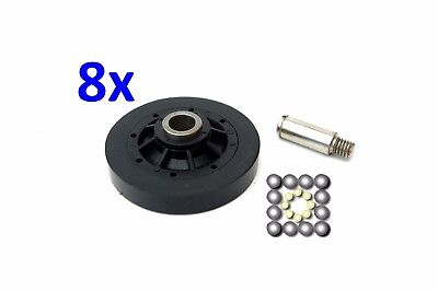 8x Dryer Support Roller & Shaft Kit Replaces 62649P & 56461P Maytag Speed Queen