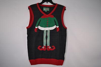 Christmas Sweater Vest (Ugly Christmas Sweater, Men's SYP5-6090VAMZ Elf Sweater Vest, Black)