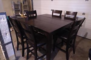 PRICE REDUCED: Solid Wood Bar Style Dining Set in Good Condition