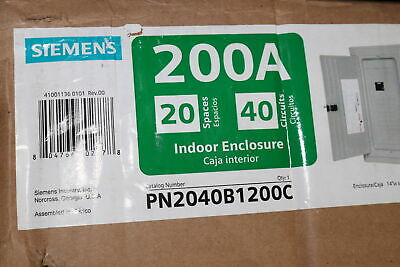Siemens Pn2040b1200c Main Breaker Plug-on Neutral Load Center Indoor With Copper