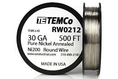 Temco Pure Nickel Wire 30 Gauge 500 Ft Non Resistance Awg Ni200 Nickel 200ga