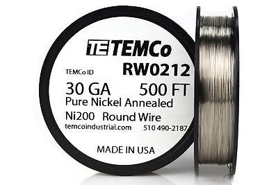Temco Pure Nickel Wire 30 Gauge 500 Ft Non Resistance Awg Ni200 Nickel 200ga