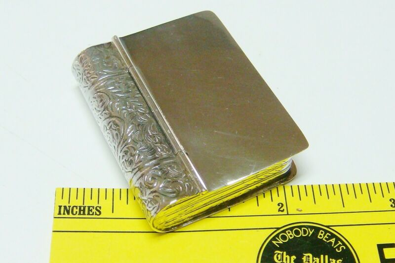 "Sterling 925 Silver Pill Box - Book 1 7/8"" x 1 1/2"" - ~21.4 gr"