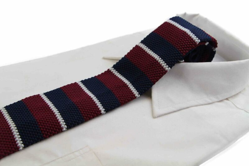 Knitted Thick Maroon, Navy & Grey Striped Patterned Neck Tie
