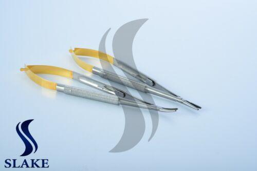 "2 Pcs Castroviejo Needle Holder Straight Curved TC Dental Eye Set Kit 6"" CE"