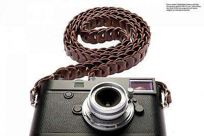 Kamera Schultergurt aus Leder | Rock n Roll Straps | Slim Version | Braun |Gr.S