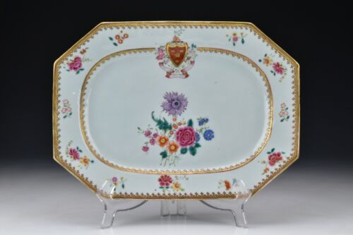 Chinese  Export Porcelain Armorial Platter with Enamel Flowers 18th Century