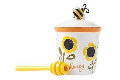 MSC Joie Large Honey Pot Jar Ceramic Container with Dipper Dipstick Tableware