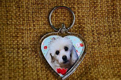 Poodle Dog Gift Keyring Dog Key Ring heart shaped gift Free UK Postage Valentine