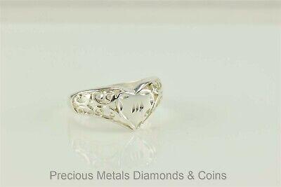 Diamond Filigree Heart Band Ring - Sterling Silver Filigree Diamond Cut Heart Love Scrolled Band Ring 925 Sz: 9