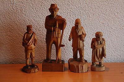 4 Alte Figuren Erzgebirge Holzfigur Figur Bauer