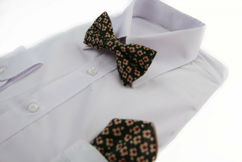 Mens Green With Cream & Red Flowers Cotton Bow Tie & Pocket Square Set