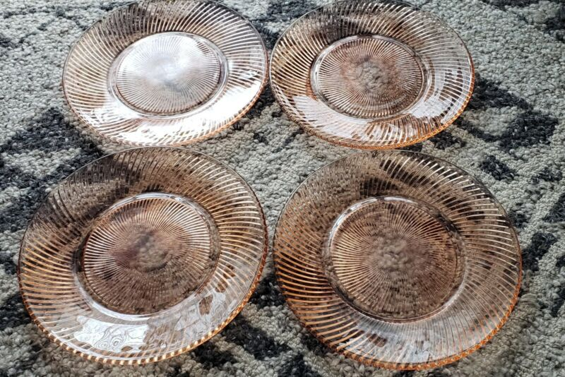 "FEDERAL GLASS, DEPRESSION, PINK DINNER PLATES, 9-3/8"", DIANA PATTERN, Set of 4"