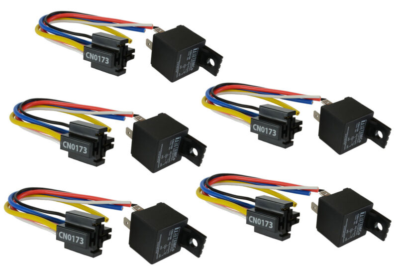 5 LOT TEMCo 12V 30 Amp Bosch Style S Relay with Harness Socket SPDT Automotive