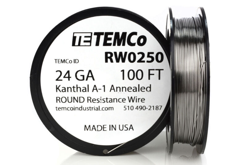 TEMCo Kanthal A1 wire 24 Gauge 100 Ft Resistance AWG A-1 ga