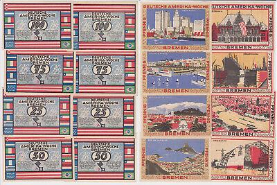 8 Banknoten Notgeld Bremen Deutsche Amerika Woche Frühjahr 1923 (122739)