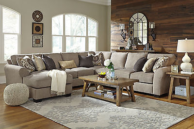 Modern Living Room Furniture Sectional Set 5 pieces Gray Fabric Sofa Chaise IG3B