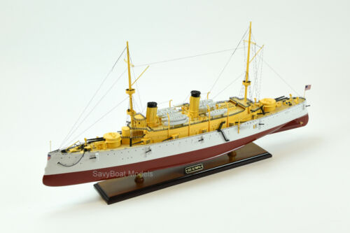"USS Olympia Protected Cruiser Handmade Wooden Ship Model 36"" Scale 1/115"