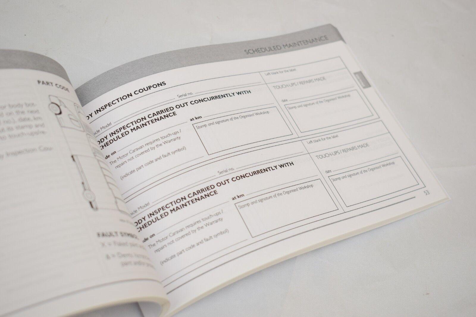 Fiat Ducato Camper Van Motor home Service Schedule Booklet New Genuine 60383218