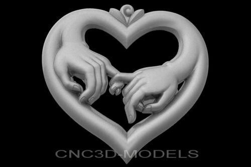 3D Model STL for CNC Router Engraver Carving Artcam Aspire Love Heart Hands g659