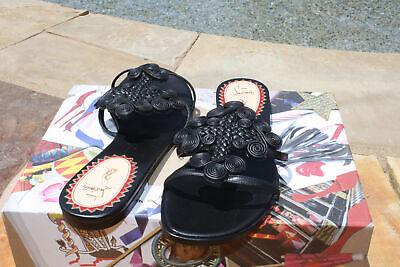 Christian Louboutin Flat Black anniversary copte sandal slide 38 NIB $1595