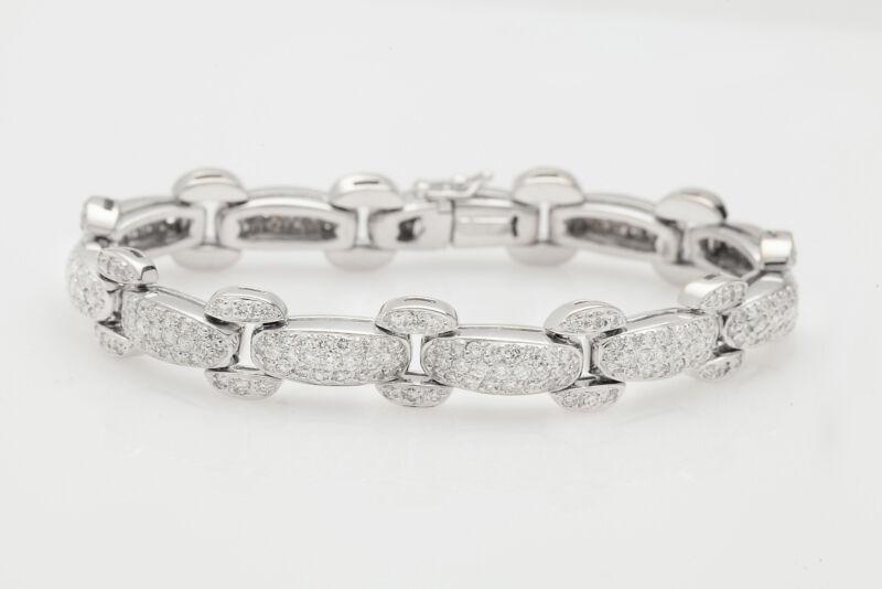 Designer $18,000 7ct Vs F Pavet Set Diamond 18k White Gold Tennis Bracelet 42g