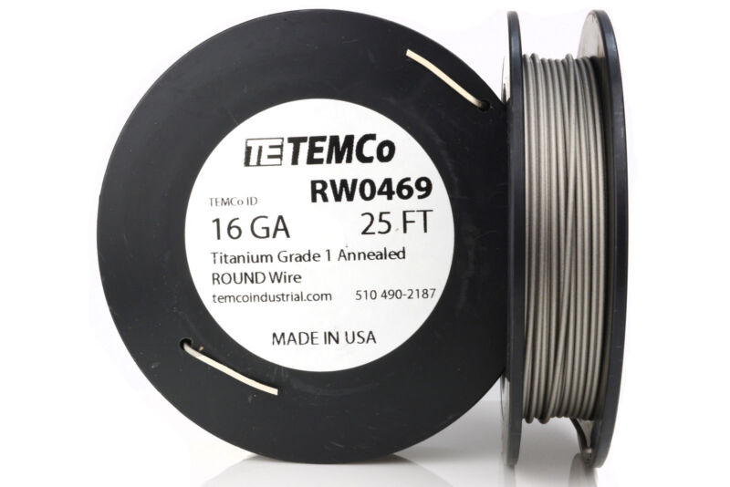 TEMCo Titanium Wire 16 Gauge 25 Ft Surgical Grade 1 Resistance AWG ga
