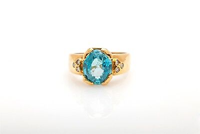 Signed H Stern $4000 5ct Natural Blue Zircon Diamond 18k Gold Band Ring