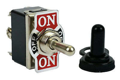 TEMCo 20A 125V ON-OFF-ON DPDT 6 Terminal Toggle Switch w/ Waterproof Boot Cap