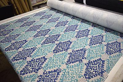 "P KAUFMANN FERGANA PERSIAN BLUE 100% COTTON DESIGNER HOME DECOR FABRIC 54""WIDE for sale  Shipping to Nigeria"