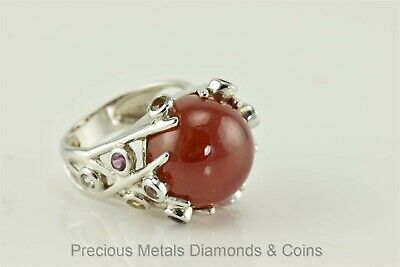 Cabachon Gemstone (Chunky Sterling Silver Carnelian Cabachon w/ Mixed Gemstone Accents 925 Sz: 10)
