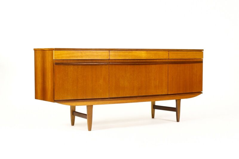 Danish Modern / Mid Century Teak Credenza / Sideboard — Bow Front