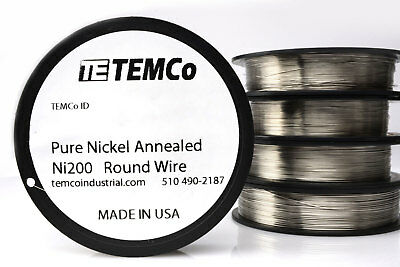 Temco Pure Nickel Wire 26 Gauge 50 Ft Non Resistance Awg Ni200 Nickel 200ga