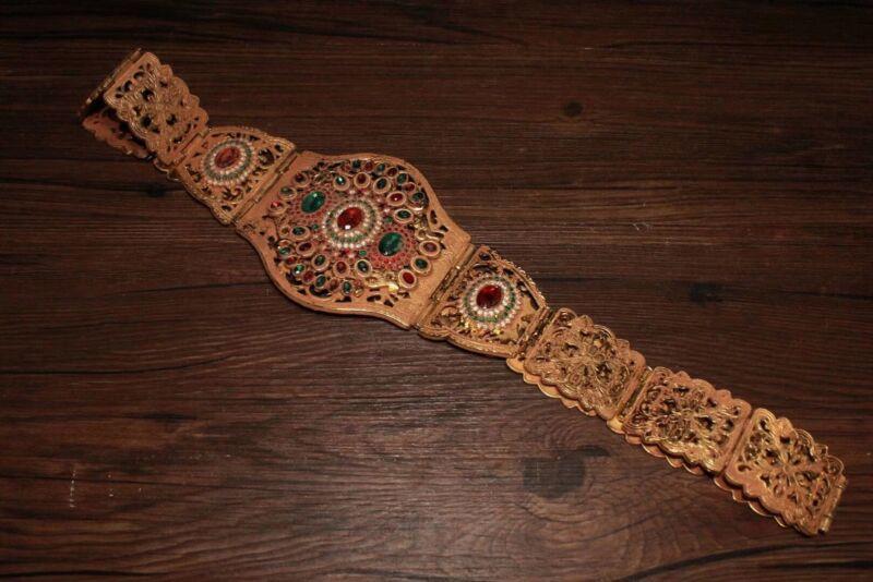 Chinese Antique Tibetan custom copper plated inlaid gemstone belt