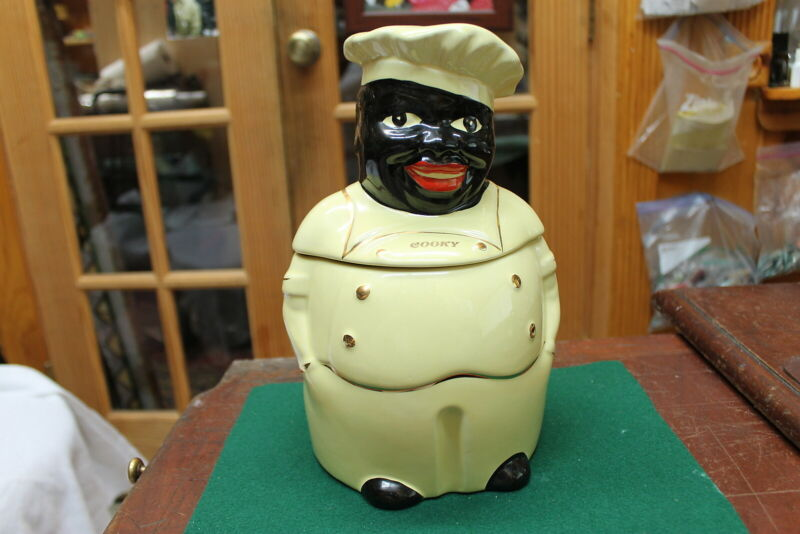 """VTGE PEARL CHINA CO. HAND DECORATED 22KT GOLD """"COOKY"""" COOKIE JAR USA EXCELLENT"""