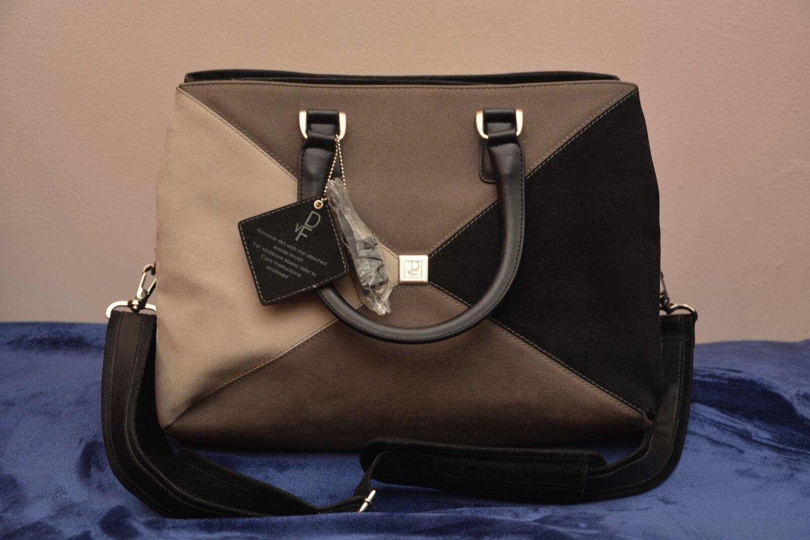 Diane Von Furstenberg Carry On Travel Bag Croosbody Brown Zip Closure Snap On - $69.99