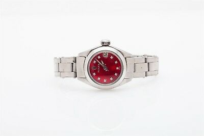 Estate $6000 Red MOP Diamond SS Rolex Oyster Ladies Watch WTY & BOX