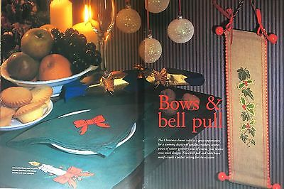 CROSS STITCH PATTERN Christmas Bell Pull Table Linen Motifs Holly Candle CHART