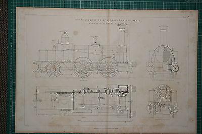 1860 LARGE LOCOMOTIVE PRINT ~ GOOD ENGINE ALLAN SCOTTISH RAILWAY PLAN ELEVATION