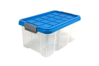 Plastikbox Aufbewahrungsbox Multibox Stapelbox Box mit Deckel 40x29x21 cm  blau ()