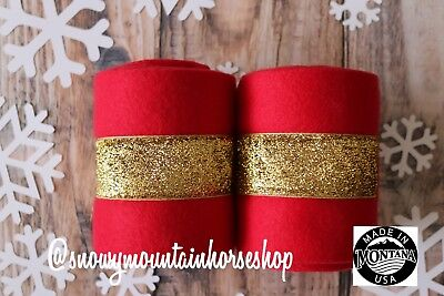Holiday Themed Christmas Polo Wraps For Horses Polos Set of 2 Gold Glitter - Horse Costume For 2