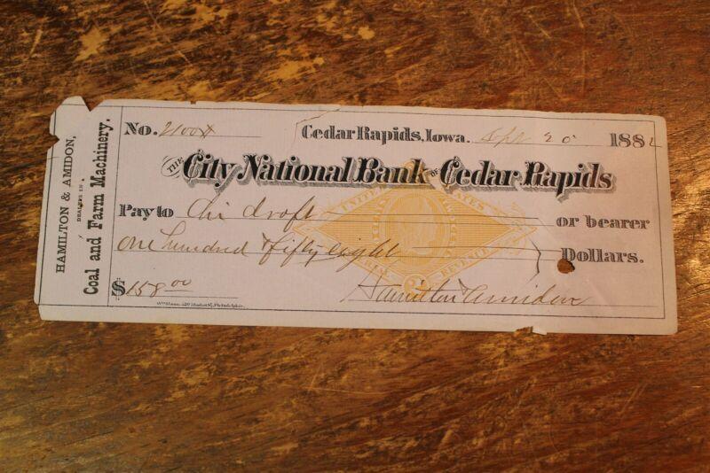 BANK CHECK CITY NATIONAL BANK OF CEDAR RAPIDS IOWA 1882