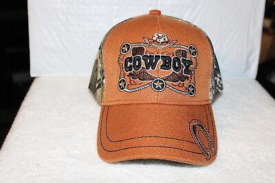 Orange Cowboy Hat (COWBOY BOOTS HAT HORSESHOE STAR BASEBALL CAP ( CAMOUFLAGE & BURNT ORANGE)