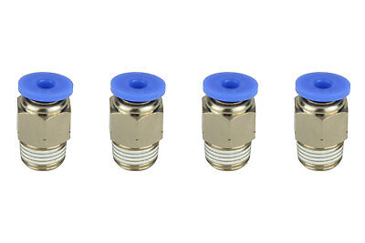 4x Temco Pneumatic Air Quick Push To Connect Fitting 18 Npt To 18 Hose Od