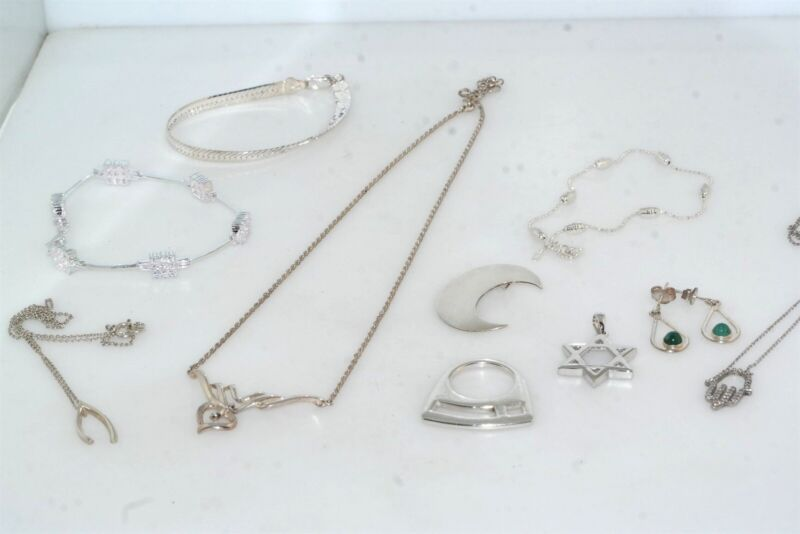 Vintage 10pc Sterling Silver Jewelry Lot Necklace Pendant Bracelet 50 grams