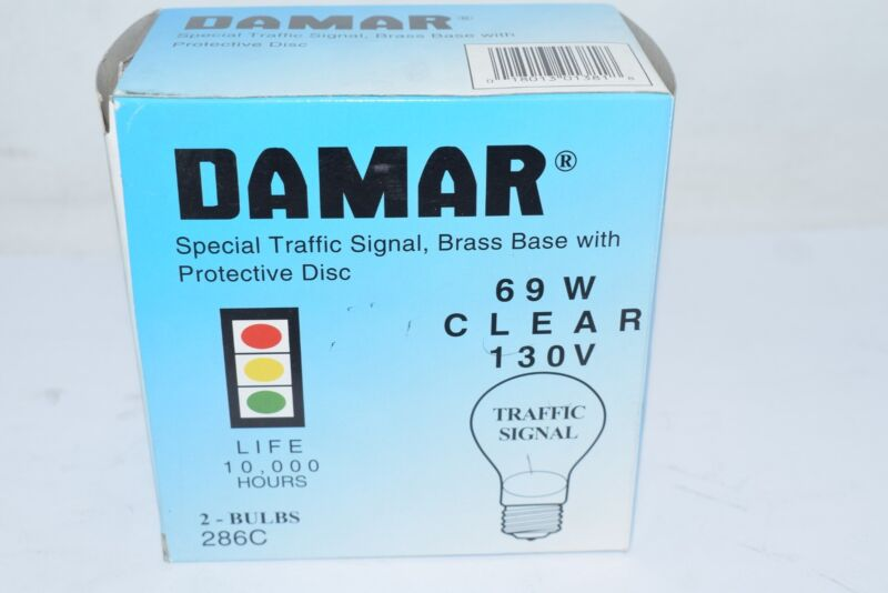Pack of 2 NEW Damar 286C 69W Clear 130V Replacement Light Bulb Traffic Signal