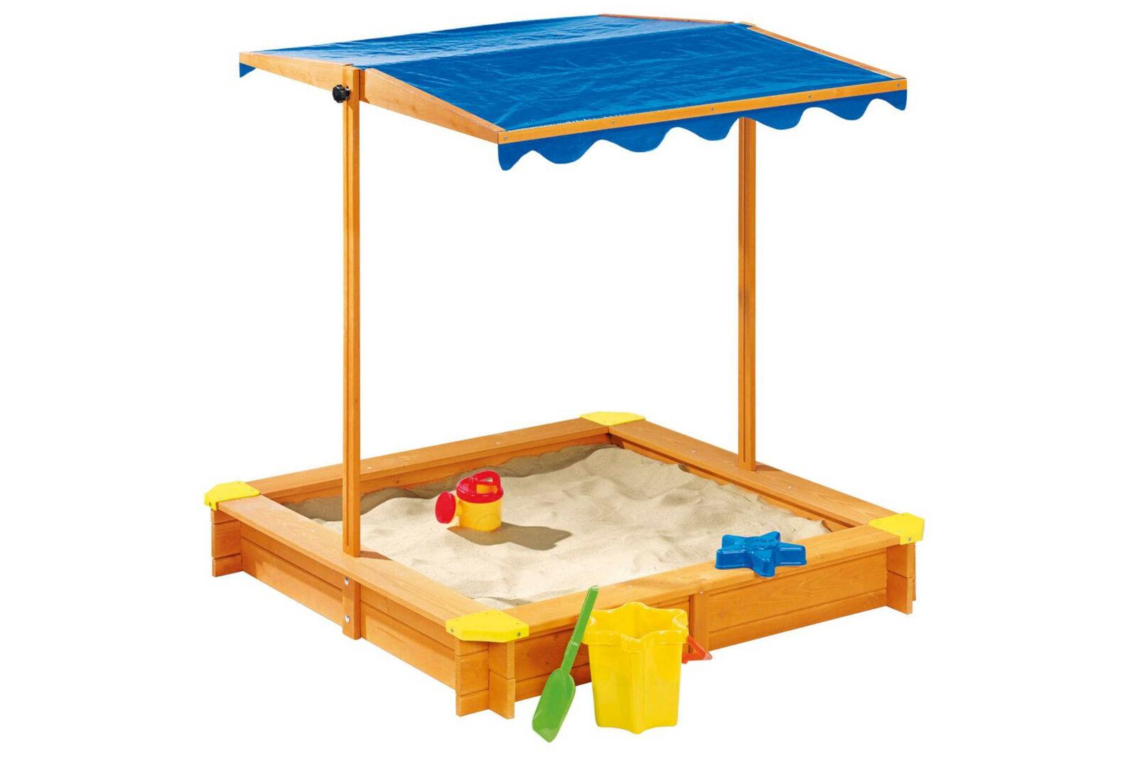 Playtive Junior Sandkasten Buddelkasten mit Dach Massivholz Spieloase