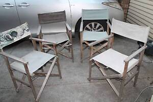 Vintage Shabby Chic Folding Director Chairs x4 Outdoor Camping Heathmont Maroondah Area Preview
